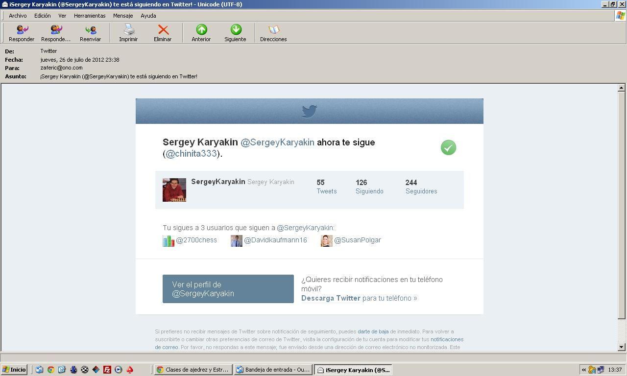 Sergey Karyakin siguiendo a Fermn González en Twitter